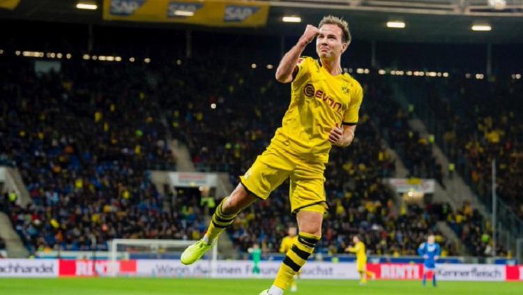 Penyerang Borussia Dortmund, Mario Gotze, mencetak gol ke gawang tuan rumah Hoffenheim pada pekan ke-17 Bundesliga, Sabtu (21/12/19) dini hari WIB, Copyright: Twitter @BVB