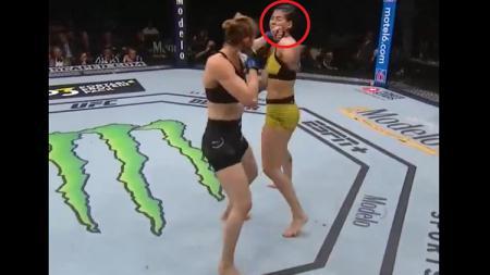Petarung wanita Mix Martial Arts (MMA), Irene Aldana, sukses menumbangkan rivalnya asal Brasil, Ketlen Vieira, hanya dengan satu pukulan tangan kiri. - INDOSPORT