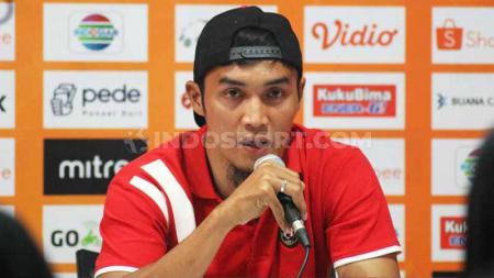 Bek Bali United, Gunawan Dwi Cahyo, memberikan keterangan pers usai laga Liga 1. - INDOSPORT