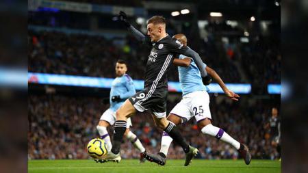 Proses gol Jamie Vardy ke Gawang Manchester City. - INDOSPORT