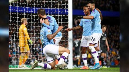 Selebrasi para pemain Manchester City usai Gabriel Jesus mencetak gol. - INDOSPORT