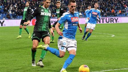 Napoli sukses menang 3-1 atas tuan rumah Sassuolo pada lanjutan pekan ke-17 Serie A Italia, Senin (23/12/19) dini hari WIB. - INDOSPORT