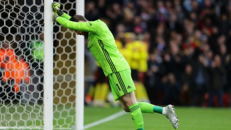 David De Gea merasa terpuruk pasca lakukan blunder fatal di laga Watford vs Manchester United Copyright: Richard Heathcote/Getty Images