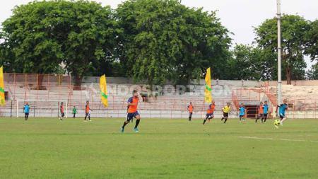 Pohon Angsana yang terletak di tribun Stadion 10 November tidak ditebang meskipun stadion sedang direnovasi. - INDOSPORT
