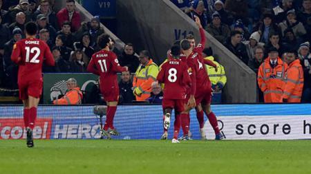 Selebrasi para pemain Liverpool usai Roberto Firmino mencetak gol ke gawang Leicester. - INDOSPORT