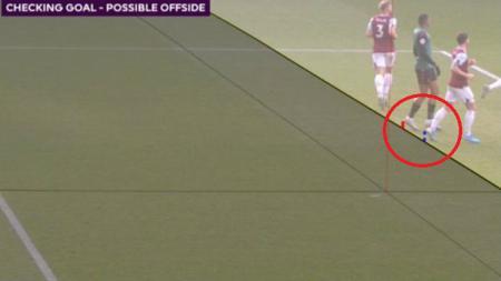 Gol pemain Aston Villa Jack Grealish yang dianggap offside oleh var (video assistant referee). - INDOSPORT