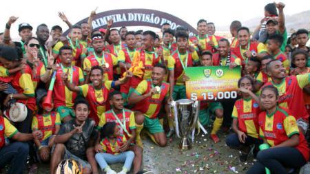 Top skor Timnas Timor Leste, Rufino Walter Gama, sesumbar membawa klubnya, Lalenok United, menundukkan PSM Makassar. - INDOSPORT