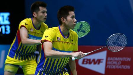Bintang ganda putra Malaysia, Goh V Shem/Tan Wee Kiong harus rela dipermalukan oleh juniornya sendiri, Chang Yee Jun/Chia Wei Jie di turnamen internal. - INDOSPORT