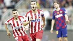 Indosport - Selebrasi para pemain Atletico Madrid kala melawan Barcelona dalam ajang Piala Super Spanyol.