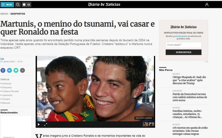 Viral, Media Portugal Soroti Martunis yang Ingin Pernikahannya Dihadiri Ronaldo Copyright: dn.pt