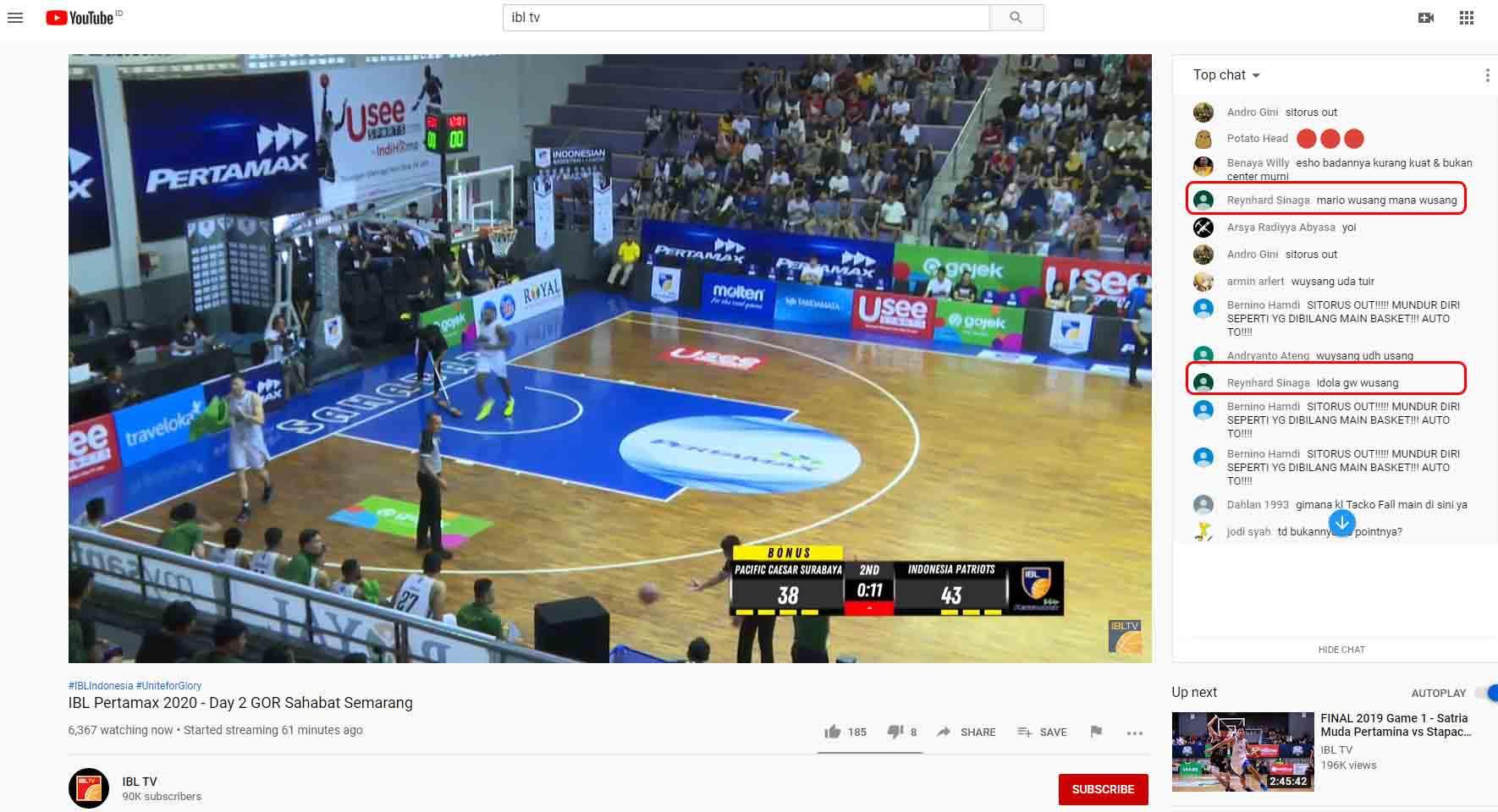 Reynhard Sinaga saksikan IBL TV pada pertandingan Pacific Caesar Surabaya vs Indonesia Patriots.jpg Copyright: Youtube IBL