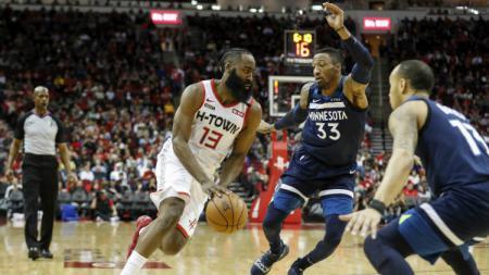 James Harden di laga NBA Minnesota Timberwolves vs Houston Rockets, Sabtu (11/01/20) waktu setempat. - INDOSPORT