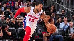 Indosport - Pemain basket NBA dari klub Detroit Pistons, Derrick Rose.