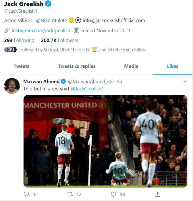 Jack Grealish kirim kode ke Manchester United. Copyright: Twitter