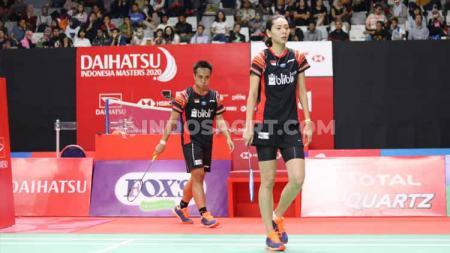 Pasangan ganda campuran Indonesia, Hafiz Faizal/Gloria Emanuelle Widjaja harus tersingkir di babak pertama Indonesia Masters 2020, Selasa (14/01/20). - INDOSPORT
