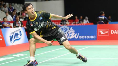 Tunggal putra Indonesia, Shesar Hiren Rhustavito, melawan wakil India, Srikanth Kidambi, pada babak pertama Indonesia Masters 2020 di Istora Senayan, Rabu (15/01/20) - INDOSPORT