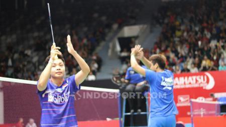 Pebulutangkis Apriyani Rahayu mengakui kalau banyak sekali perbedaan antara bermain di ganda putri dan campuran setelah tersingkir dari Indonesia Masters 2020. - INDOSPORT