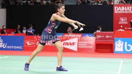 Terlalu cinta dengan Indonesia, pebulutangkis asal Spanyol, Carolina Marin mengaku sangat senang bisa bermain di Indonesia Masters 2020. - INDOSPORT
