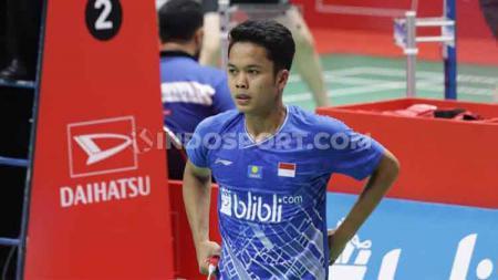 Tunggal putra Indonesia, Anthony Sinisuka Ginting lolos ke final Indonesia Masters 2020 usai menekuk Viktor Axelsen dengan skor 22-20 dan 21-11. - INDOSPORT