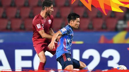Para pemain Qatar saat berhadapan dengan Jepang di Piala Asia U23 2020 - INDOSPORT