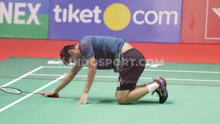 Tunggal putra Indonesia, Shesar Hiren Rhustavito kalah lawan Viktor Axelsen selaku unggulan Denmark di babak dua Indonesia Masters 2020, Kamis (16/1/20). - INDOSPORT