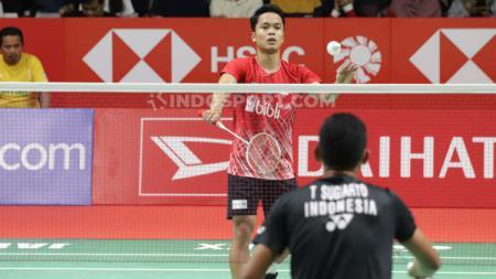 Anthony Sinisuka Ginting di perang saudara Indonesia Masters 2020 melawan Tommy Sugiarto, Kamis (16/01/20). - INDOSPORT