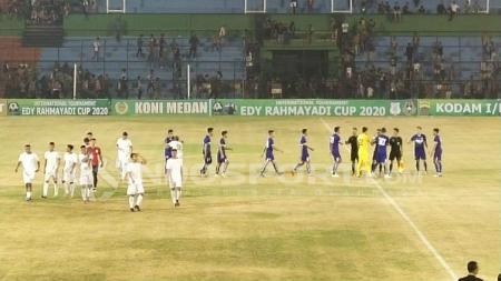 PSMS Medan kalah 1-2 atas Felda United di hari pertama turnamen pra-musim internasional Edy Rahmayadi Cup 2020 di Stadion Teladan, Medan, Kamis (16/1/2020) malam. - INDOSPORT