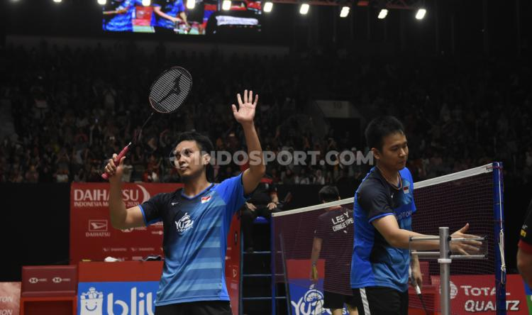 Mohammad Ahsan/Hendra Setiawan sukses melaju ke babak semifinal Indonesia Masters 2020 usai menumbangkan wakil Chinese Taipei, Lee Yang/Wang Chi-Lin, Jakarta, (17/01/20). Copyright: Herry Ibrahim/INDOSPORT