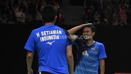 Mohammad Ahsan/Hendra Setiawan sukses melaju ke babak semifinal Indonesia Masters 2020 usai menumbangkan wakil Chinese Taipei, Lee Yang/Wang Chi-Lin, Jakarta, JUmat (17/01/20). - INDOSPORT