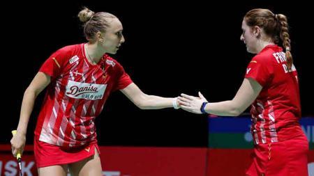 Pasangan ganda putri Denmark, Sara Thygesen/Maiken Fruergaard, memberikan reaksi mengejutkan jelang partai final Indonesia Masters 2020. - INDOSPORT