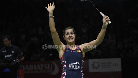 Pebulutangkis tunggal putri asal Spanyol, Carolina Marin mengaku telah memetik hal baik usai gagal menjadi juara di ajang Indonesia Masters 2020. - INDOSPORT