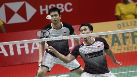 Ganda Putra Indonesia, Fajar Alfian/Muhammad Rian Ardianto vs Mohammad Ahsan/Hendra Setiawan di Indonesia Masters 2020. - INDOSPORT