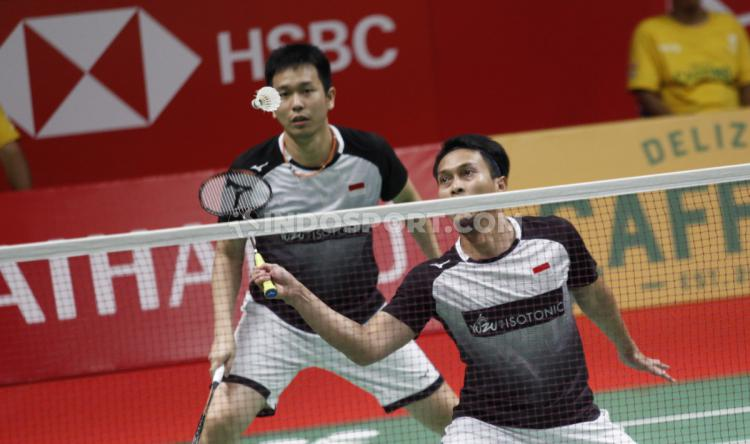 Ganda Putra Indonesia, Fajar Alfian/Muhammad Rian Ardianto vs Mohammad Ahsan/Hendra Setiawan di Indonesia Masters 2020. Copyright: Herry Ibrahim/INDOSPORT