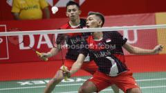 Indosport - Pebulutangkis ganda putra, Fajar Alfian curhat soal kegagalan di Indonesia Masters 2020, pebulutangkis Denmark langsung ajak 'pelukan'.