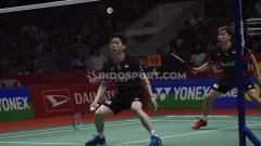 Indosport - Pasangan Kevin Sanjaya/Marcus Gideon sukses menekuk wakil Malaysia, Aaron Chia/Soh Wooi Yik di final Badminton Asia Team Championship 2020