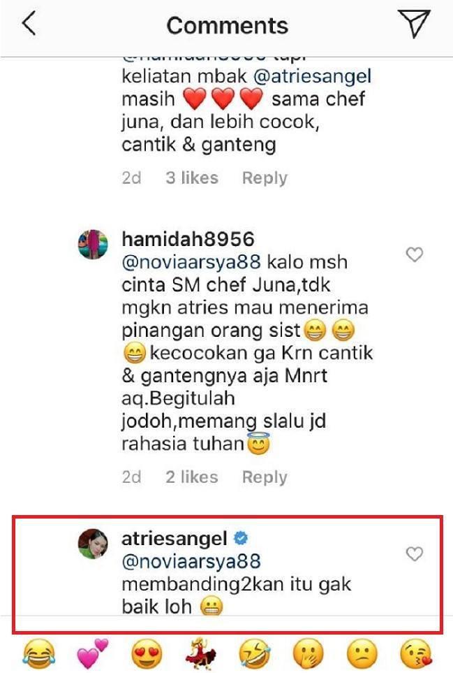 Tanggapan Atries Angel saat sang calon suami dibandingkan dengan Chef Juna. Copyright: Instagram @atriesangel