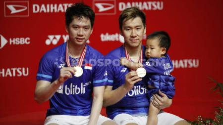 BWF kembali mengenang panasnya persaingan antara dua ganda putra unggulan Indonesia, Kevin Sanjaya/Marcus Fernaldi Gideon dan Hendra Setiawan/Mohammad Ahsan. - INDOSPORT