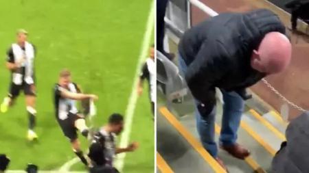 Selebrasi para pemain Newcastle United membawa korban usai berhasil tumbangkan Chelsea pada menit-menit akhir pertandingan. - INDOSPORT