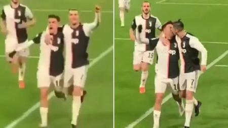 Cristiano Ronaldo tak sengaja mencium bibir Dybala dalam laga lanjutan Serie A Italia antara Juventus vs Parma. - INDOSPORT