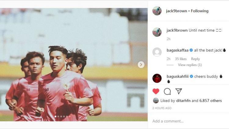 Gagal Seleksi di Timnas U-19, Jack Brown Dapat Sorotan Bagas Kaffa dan Bagus Kahfi Copyright: instagram.com/jack9brown