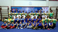 Indosport - Skuat Wushu Sumatra Utara saat mengikuti Kejurnas 2019 atau Pra-PON 2020 lalu.