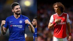 Indosport - Olivier Giroud dan David Luiz, dua pemain yang bermain bagi klub Liga Inggris Chelsea dan Arsenal
