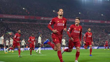 Selebrasi para pemain klub Liga Inggris, Liverpool - INDOSPORT