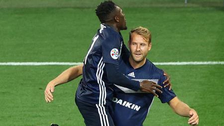 Selebrasi penyerang Melbourne Victory, Ola Toivonen, saat mencetak gol ke gawang Bali United di play-off kedua Liga Champions Asia, Selasa (21/1/2020). - INDOSPORT