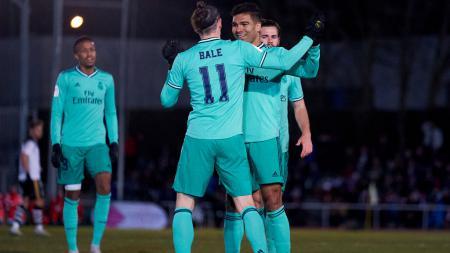 Striker Real Madrid, Gareth Bale merayakan golnya ke gawang Unionista Salamanca - INDOSPORT