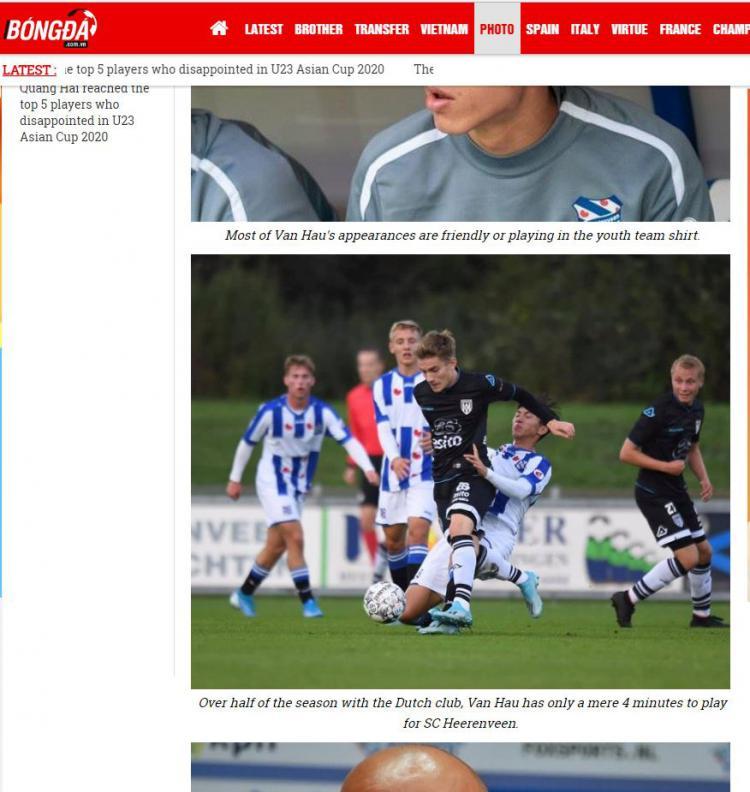 Menit bermain Doan Van Hau di tim senior Heerenveen hanya 4 menit. Copyright: Bongda