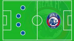 Indosport - Ilustrasi formasi Arema FC.