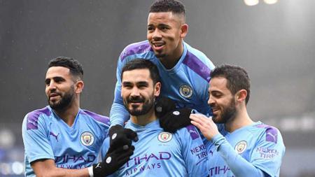 Selebrasi pemain klub Liga inggris, Manchester City - INDOSPORT