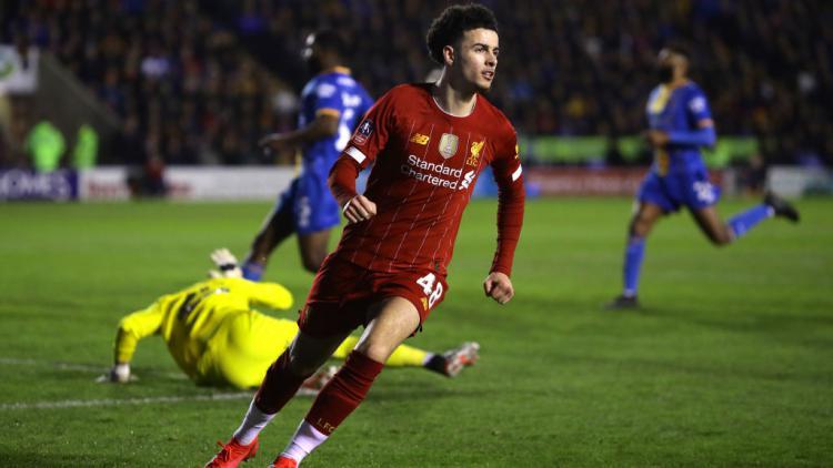 Pemain Liverpool, Curtis Jones merayakan golnya ke gawang Shrewsbury Town dalam pertandingan Piala FA Copyright: Richard Heathcote/Getty Images