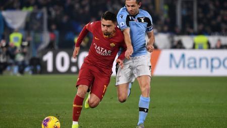 Situasi pertandingan Serie A Italia bertajuk Derby della Capitale antara AS Roma vs Lazio, Senin (27/01/20) dini hari WIB. - INDOSPORT